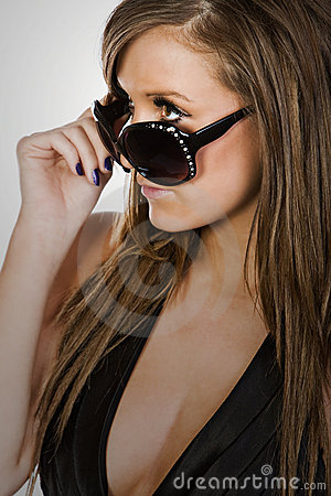Free Stunning Brown Haired Teen In Sunglasses Stock Photography - 8449832