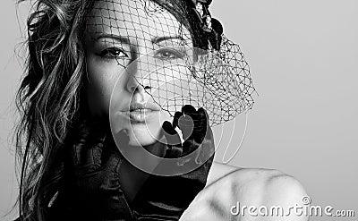 Stunning Brunette Model in Veil