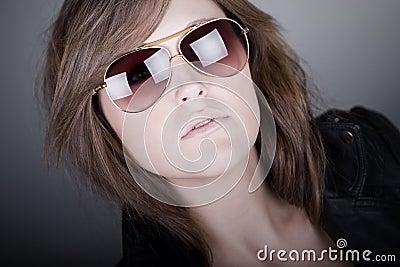 Stunning Brunette Teenager in Aviator Sunglasses