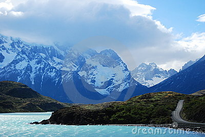 Stunning lake and road in Patagonia