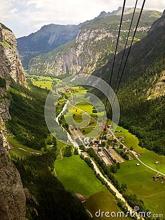Free Stunning Lauterbrunnen Valley Rural View, Bird Eye View From Cable Car From Stechelberg To Murren Station, Lauterbrunnen, Bern Stock Photography - 100172582