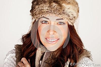 Stunning Redhead In Winter Fur Hat