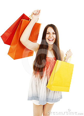Stunning young woman carrying shopping bags
