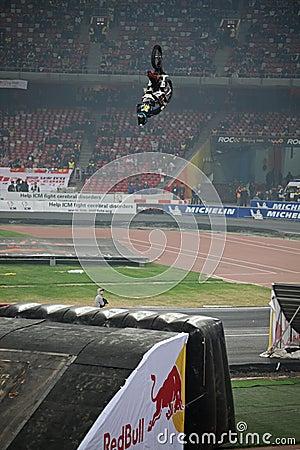 Stunt rider performance Editorial Stock Image