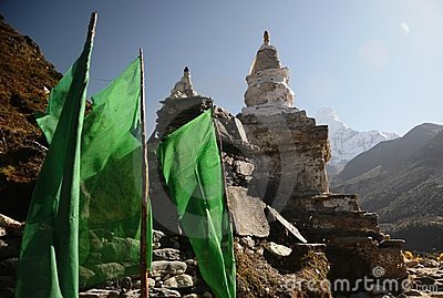 Stupa and mountains in the background