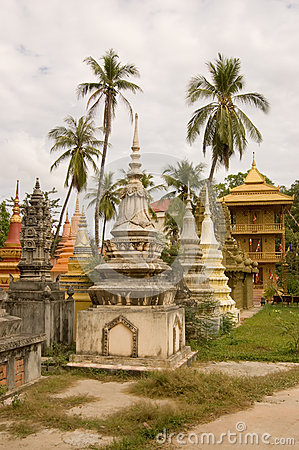 Stupas and Palm Trees, Siem Reap, Cambodia