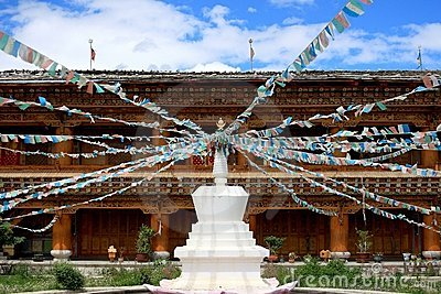 Stupas with Tibet flag in a temple