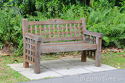 Sturdy Wooden Bench In A Park