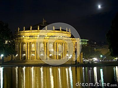 Stuttgart opera house at night