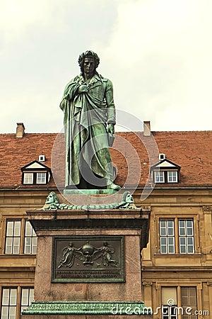 Stuttgart, statue of Friedrich Schiller