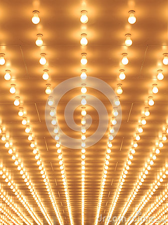 Free Style Theater Marquee Lights Walkway To The Theater. Royalty Free Stock Photo - 59488875