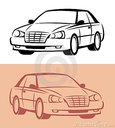 Styled car icon. Vector