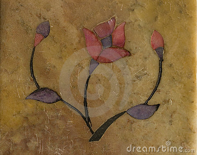 Stylised flower inlaid on stone