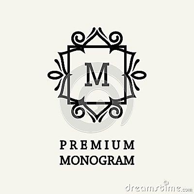 Free Stylish And Graceful Floral Monogram Design , Elegant Line Art Logo , Vector Template. Stock Images - 91584694