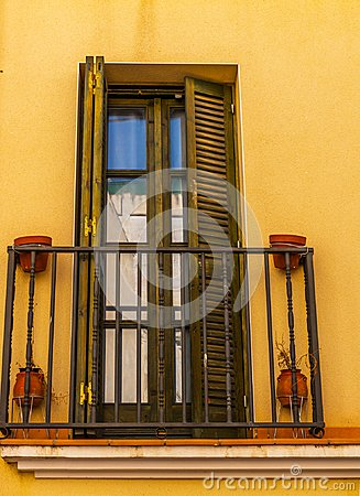 Free Stylish Balcony With A Metal Railing, Solid Architectural Elemen Stock Image - 100071731