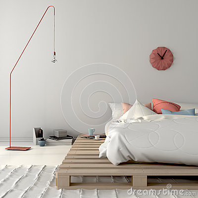 Free Stylish Bed On Wooden Pallets And Pink Décor Royalty Free Stock Photo - 67105375