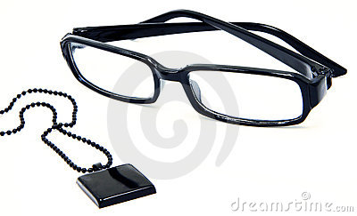 Stylish Black glasses and pendant with ball chain