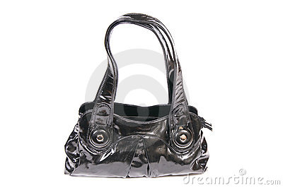 Stylish,black handbag on a white.