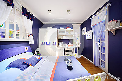 Stylish blue bedroom for boy