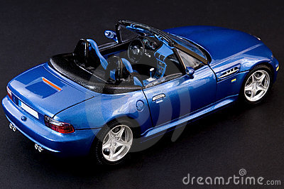 Stylish blue covertible roadster