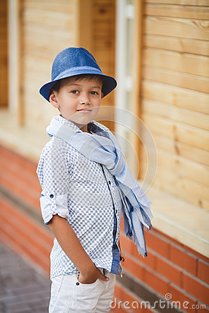 Free Stylish Boy In The Street Near His Home Stock Images - 55225004