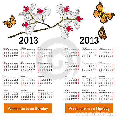 Stylish calendar with flowers and butterflies