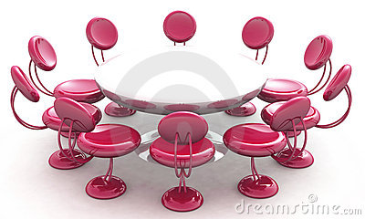 Stylish chairs around table