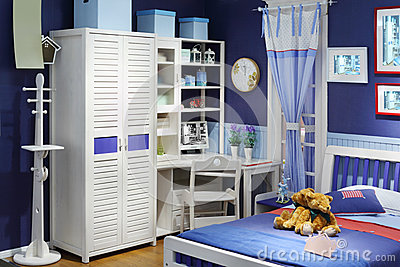 Stylish children room with bed
