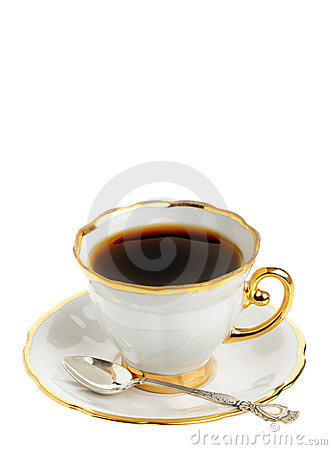 Stylish coffee cup with silver spoon