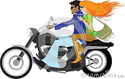 Stylish couple on motorcycle