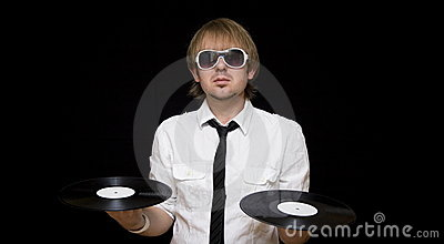 stylish dj with vinyl records