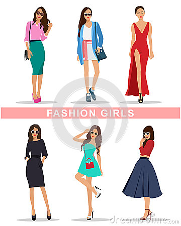 Free Stylish Fashion Girls With Accessories. Fashion Women S Clothes. Beautiful Girls Set. Royalty Free Stock Images - 71725699