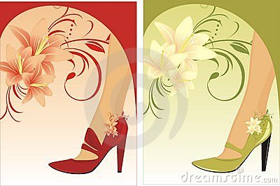 Stylish female shoes. Compositions for card