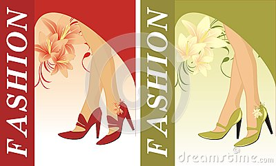 Stylish female shoes. Two compositions for card