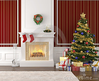 Stylish fireplace decorated for