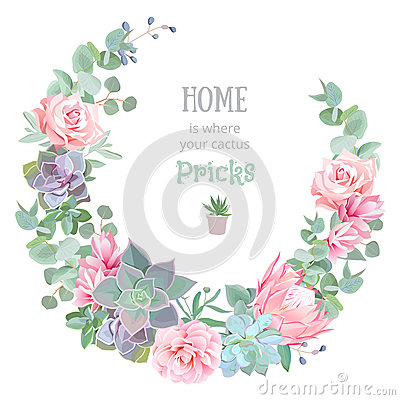 Free Stylish Floral Vector Design Round Frame. Rose, Camellia, Pink Flowers, Echeveria, Protea, Eucaliptus Leaves Stock Photos - 76074403