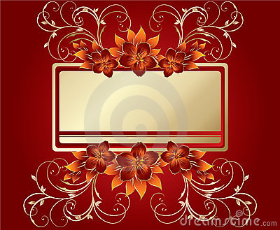 Stylish flowers on red background