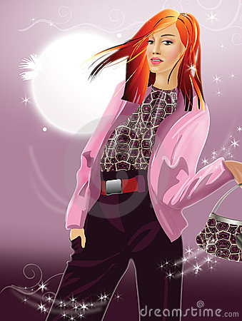 Stylish  girl with red hair