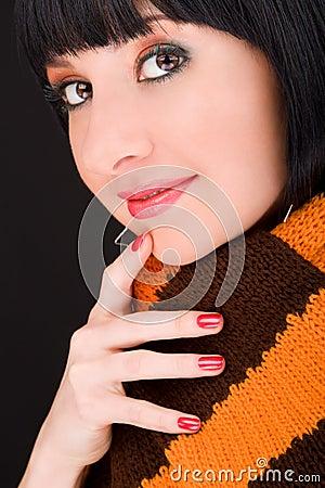 Stylish girl in scarf