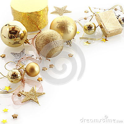 christmas border golden corner baubles branches colorful decorations