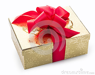 Stylish gold gift with a red decorative bow