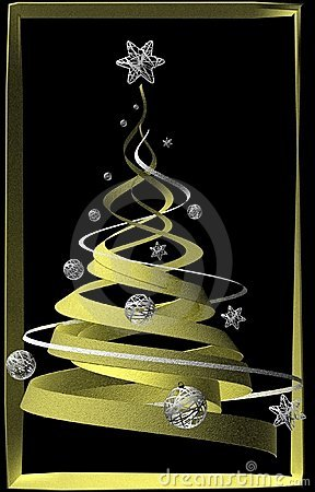 Stylish golden decorated Christmas tree
