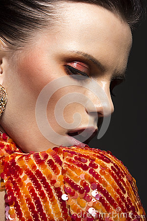 Stylish Gorgeous Woman Portrait. Elegant Dress. Classy Evening Make Up