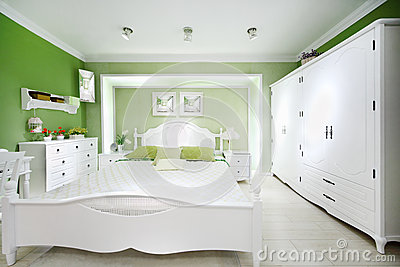 Stylish green bedroom