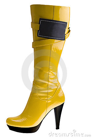 High Heel Fashion Green Boot Isolated On White Stock Image - Image
