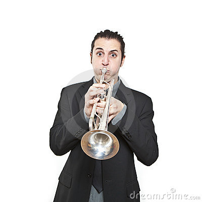 Stylish jazz man playing the trumpet