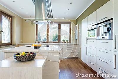 Stylish kitchen with island Stock Photo