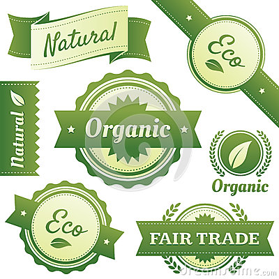 Free Stylish Labels For Natural,Organic,Eco,Fair Trade Stock Image - 25112661