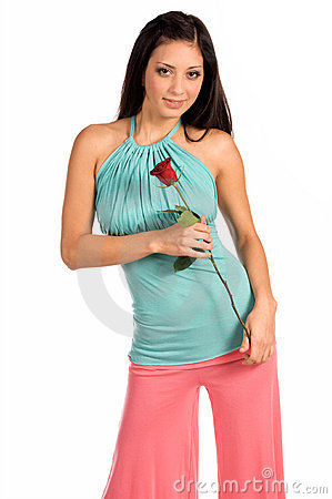 Free Stylish Latina With Rose Stock Photo - 520340
