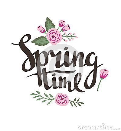 stylish lettering spring timewith flowers and leaves vector illustration stock vector image. Black Bedroom Furniture Sets. Home Design Ideas